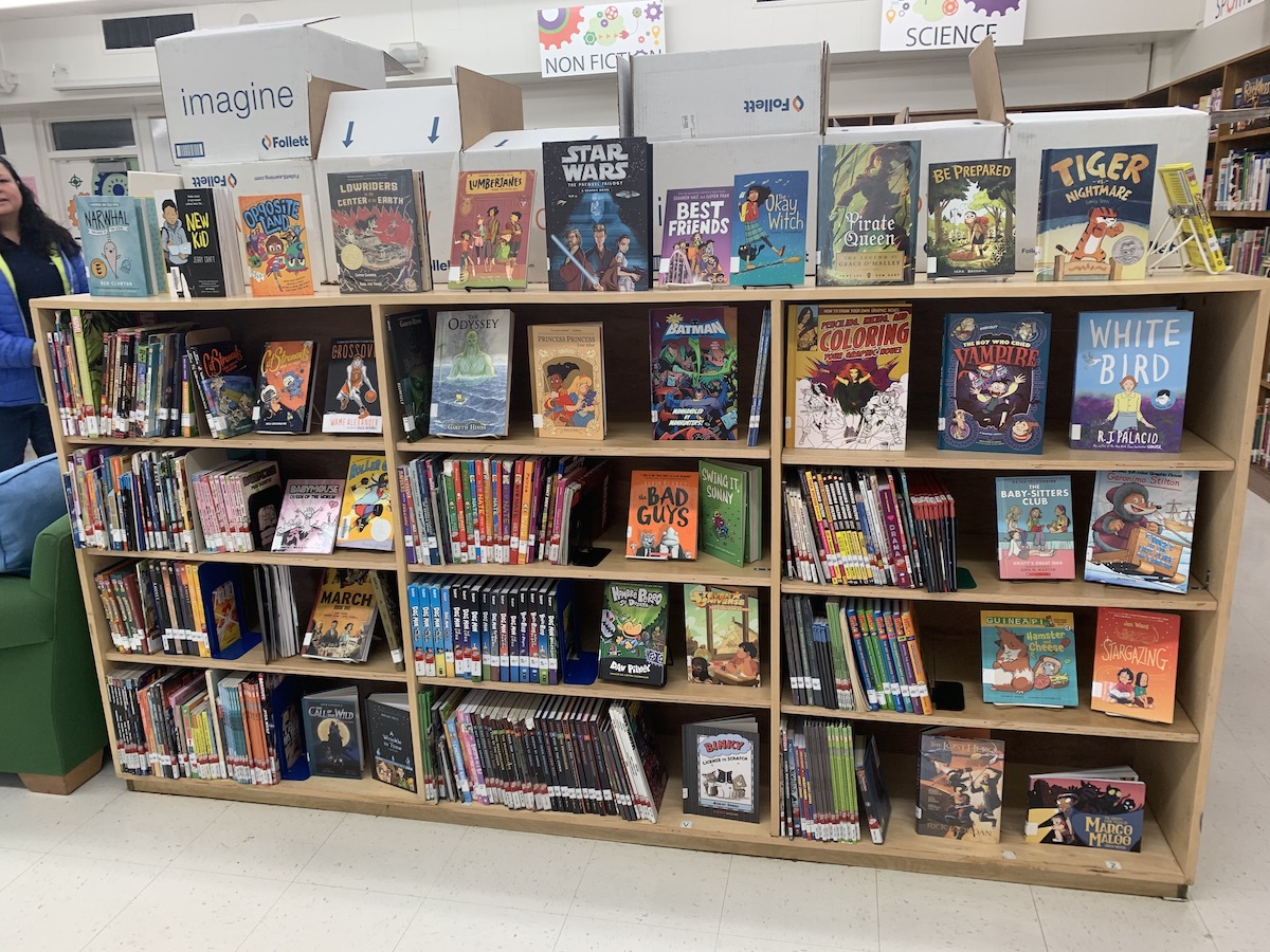 New graphic novels in the Los Robles Elementary School Library.